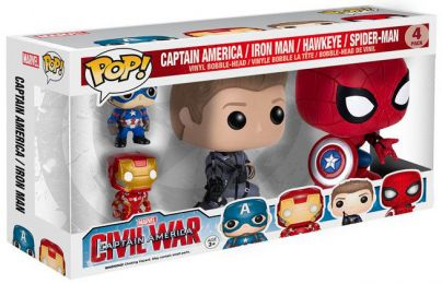 Figurine Funko Pop Captain America : Civil War [Marvel] #0 Captain America, Iron Man, Hawkeye & Spider-Man - 4 Pack