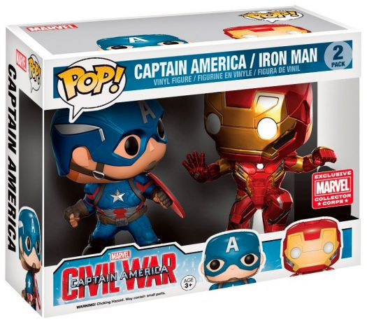 Figurine Funko Pop Captain America : Civil War [Marvel] #00 Captain America & Iron Man - En Action - 2 Pack