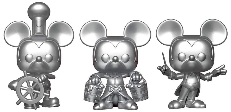 Figurine Funko Pop Mickey Mouse - 90 Ans [Disney] #00 Mickey Mouse - Steamboat Willie, Apprenti Sorcier, Chef d'Orchestre - 3-Pack Argent