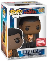Figurine Funko Pop Captain Marvel [Marvel] #447 Nick Fury avec Goose le chat