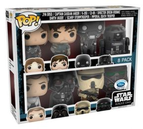 Figurine Funko Pop Rogue One : A Star Wars Story # Jyn Erso, Captain Cassian Andor, K-250, C2-B5, Director Orson Krennic, Darth Vader, Scarf Stormtrooper, Imperial Death Trooper - 8 pack