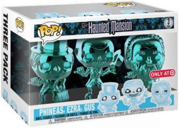 Figurine Funko Pop Haunted Mansion #0 Gus, Phineas & Ezra - Chromé Bleu - 3 Pack