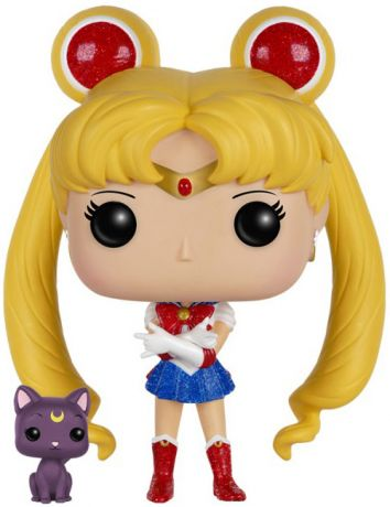 Figurine Funko Pop Sailor Moon #89 Sailor Moon avec Luna - Pailleté