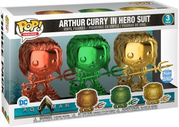 Figurine Funko Pop Aquaman [DC] #0 Arthur Curry en Costume de Héro - Chromé - 3 pack