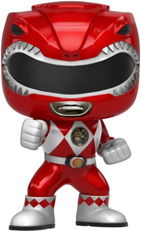 Figurine Funko Pop Power Rangers #406 Ranger Rouge - Métallique