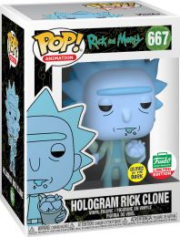 Figurine Funko Pop Rick et Morty #667 Hologram Rick Clone - Brillant dans le noir