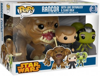 Figurine Funko Pop Star Wars 1 : La Menace fantôme #0 Rancor avec Luke Skywalker & Esclave Oola - 3 pack