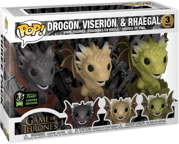 Figurine Funko Pop Game of Thrones #00 Drogon, Viserion, & Rhaegal - 3 Pack