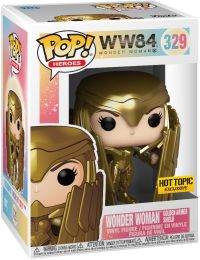 Figurine Funko Pop Wonder Woman 1984 - WW84 #329 Wonder Woman avec Bouclier et Armure en Or - Metallic