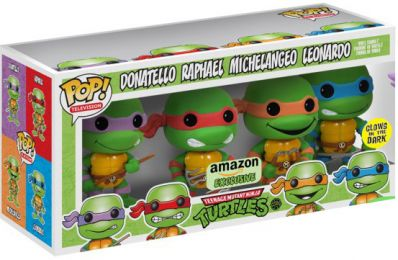 Figurine Funko Pop Tortues Ninja #0 Donatello, Raphael, Michelangelo & Leonardo - Brillant dans le noir - 4 pack