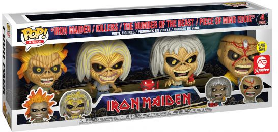 Figurine Funko Pop Iron Maiden #0 Iron Maiden / Killers / The Number of the Beast / Piece of Mind Eddie - Brillant dans le noir - 4 pack