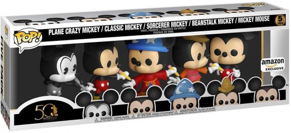 Figurine Funko Pop Mickey Mouse [Disney] #0 Avion fou Mickey, Mickey Classique, Sorcier Mickey, Mickey Haricot Magique & Mickey Mouse - 5 pack