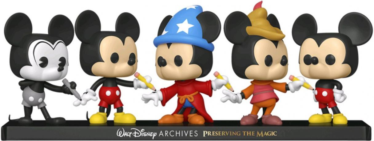 Figurine Funko Pop Mickey Mouse [Disney] #00 Avion fou Mickey, Mickey Classique, Sorcier Mickey, Mickey Haricot Magique & Mickey Mouse - 5 pack