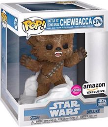 Figurine Funko Pop Star Wars 5 : L'Empire Contre-Attaque #374 Bataille à la base Echo : Chewbacca - Floqué & 15 cm