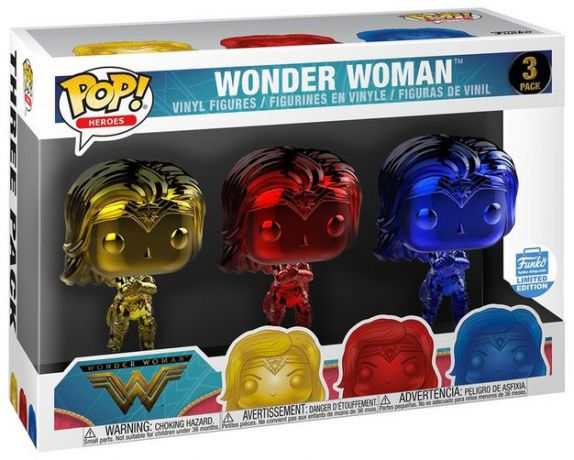 Figurine Funko Pop Wonder Woman [DC] #00 Wonder Woman - Chrome - 3 Pack