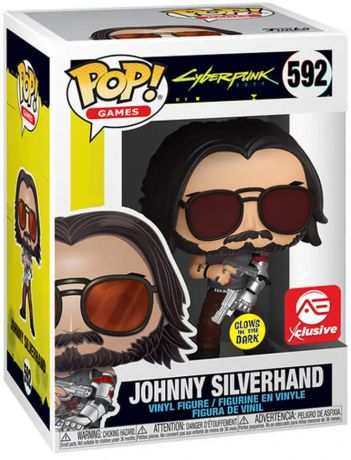 Figurine Funko Pop Cyberpunk 2077 #592 Johnny Silverhand avec pistolet - Glow in the dark