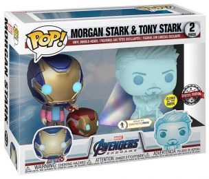 Figurine Funko Pop Avengers : Endgame [Marvel] # Hologramme Tony Stark et Morgan avec casque - Glow in the Dark